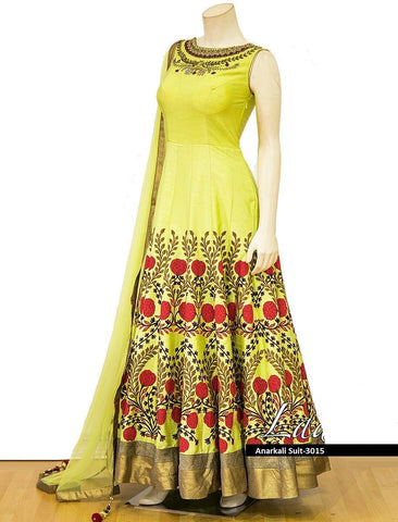 Canary Yellow Color Nura Silk  Semi Stitched Gown - AF-3015