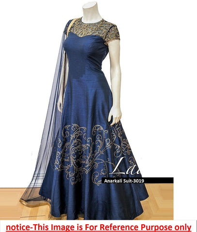 Navy Blue Color Pantom Silk  Semi Stitched Gown - AF-3019