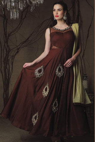 Brown Color Pure Georgette  Semi Stitched Gown - AF-3020