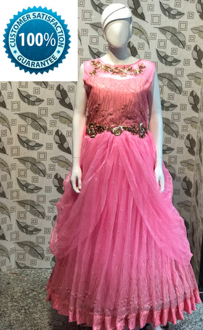 Pink Color Bridal Net  Semi Stitched Gown - AF-3021