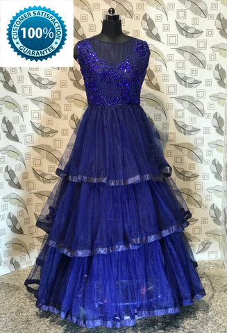 Navy Blue Color Bridal Net  Semi Stitched Gown - AF-3026
