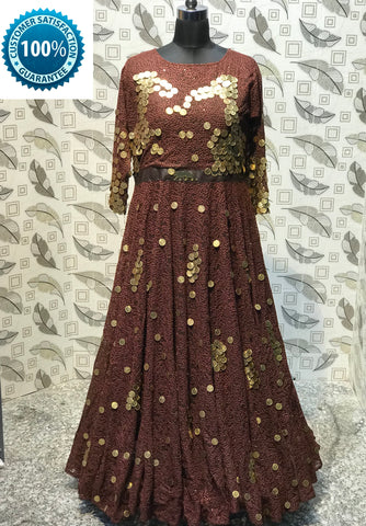 Mocha Color Paper Silk  Semi Stitched Gown - AF-3033