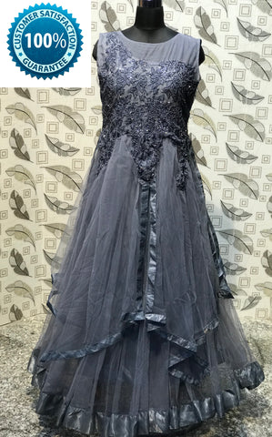 Grey  Color Soft Net  Semi Stitched Gown - AF-3034