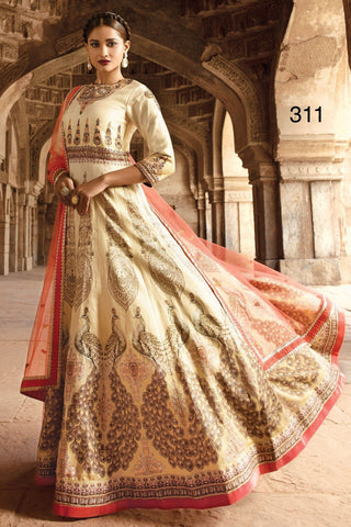 Darti Cream  Color Bhagalpuri Print Semi Stitched Gown - AF-311