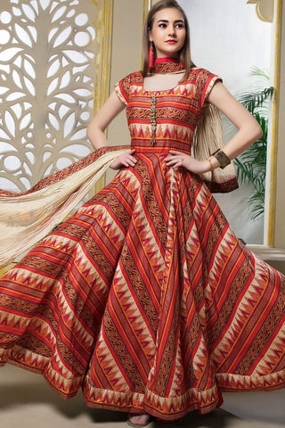 Dark Orange Color Maslin Cotton Stitched Gown - AF-401