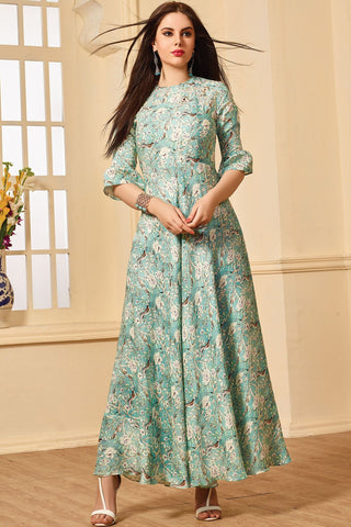 Mint Color Maslin Cotton Stitched Gown - AF-408