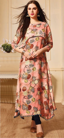 Light Peach Color Maslin Cotton Stitched Gown - AF-409