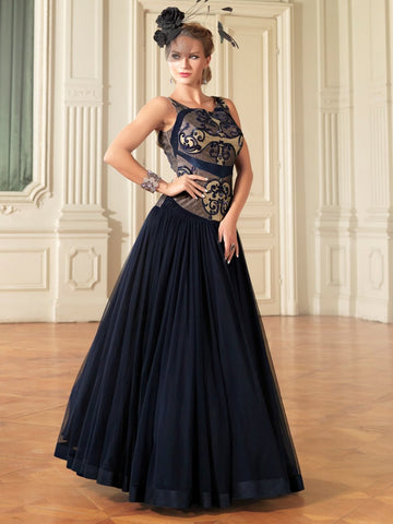 Blue Color Net Semi Stitched Gown - AF-41