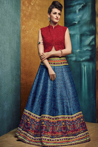 English Grey Color Bhagalpuri Print Semi Stitched Lehenga - AF-546