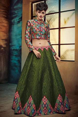 Dark Green Color Bhagalpuri Print Semi Stitched Lehenga - AF-547