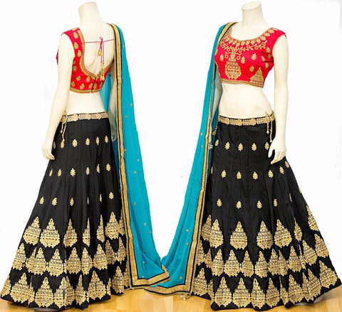 Black Color Chennai Silk Semi Stitched Lehenga - AF-602