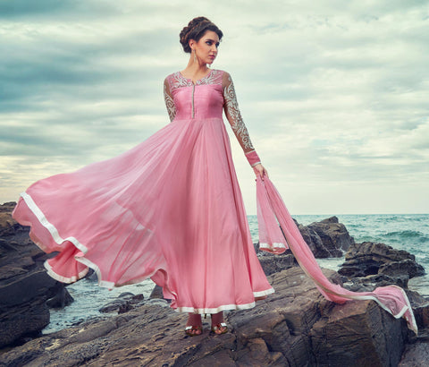 Pink Color Georgette Semi Stitched Gown - AF-67