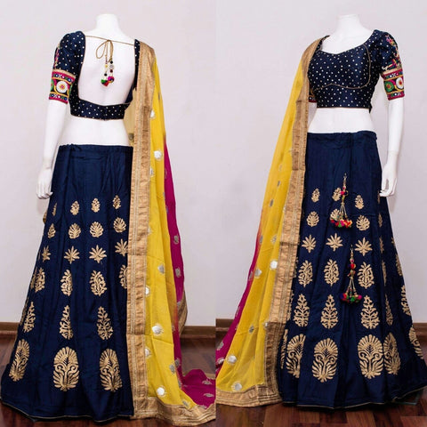 Navy Blue  Color Chennai Silk Semi Stitched Lehenga - AF-707