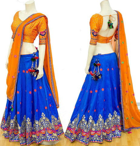 Royal Blue Color Banarasi Silk Semi Stitched Lehenga - AF-710