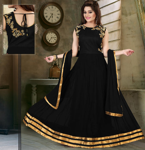 Black Color Georgette Semi Stitched Gown - AF-74