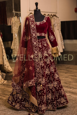 Jam Maroon Color Malai Satin Semi Stitched Lehenga - AF-820
