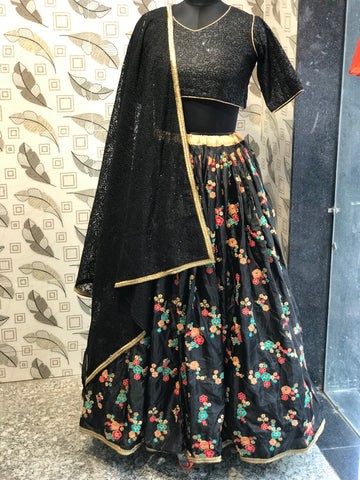 Black Color Silk Semi Stitched Lehenga - af-829