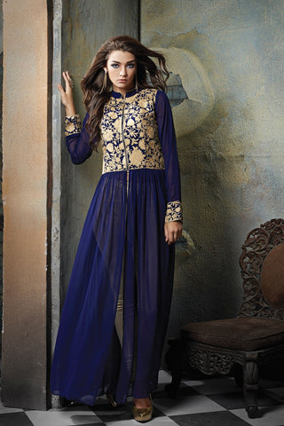 Blue Color Georgette Semi Stitched Gown - AF-8