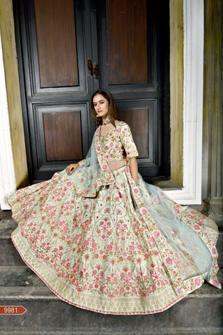Sage Green Color Velvet Silk Unstitched Lehenga - AF-9981