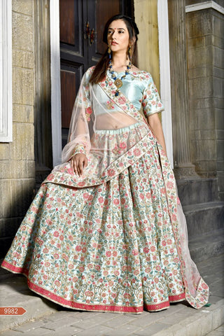 Powder Blue Color Malai Satin Unstitched Lehenga - AF-9982