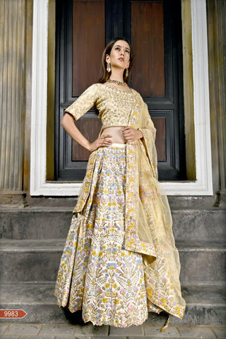 Bride Cream Color Bright Banarasi Unstitched Lehenga - AF-9983