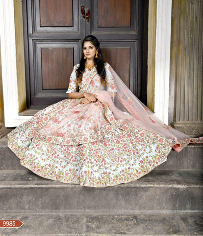 Baby Blue Color Malbari Silk Unstitched Lehenga - AF-9985