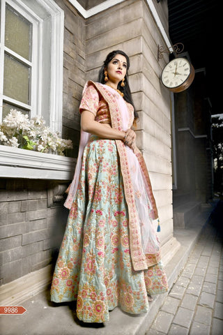 Fern Green Color Bamboo Silk Unstitched Lehenga - AF-9986
