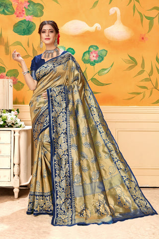 Navy Blue Color Lichi Silk Women's Saree - AFGBANAVY
