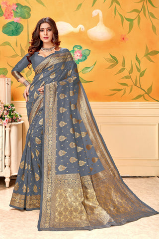 Grey Color Lichi Silk Women's Saree - AFLVYAGREY