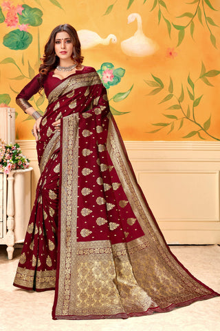 Maroon Color Lichi Silk Women's Saree - AFLVYAMAROON