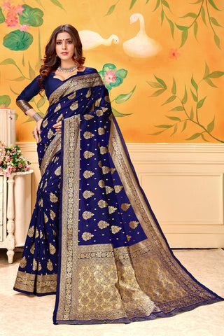 Navy blue Color Lichi Silk Women's Saree - AFLVYANAVY