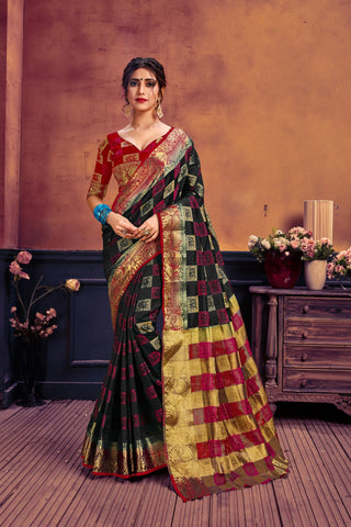 Black and Red Color Nylon Art Silk Women's Woven Saree - AFMBLABLACK