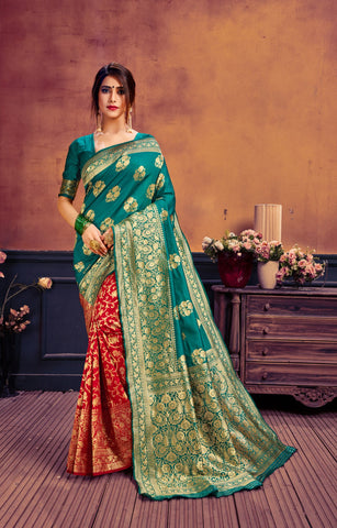 Red and Teal Color Poly Cotton Women's Woven Saree - AFMOAGREEN