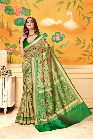 Green Color Lichi Silk Women's Saree - AFMSAGREEN