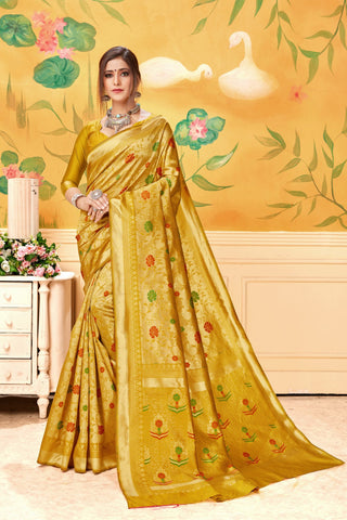Mustard Color Lichi Silk Women's Saree - AFMSAMUSTERD