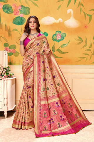 Pink Color Lichi Silk Women's Saree - AFMSAPINK