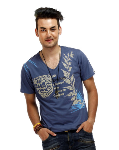 Blue Color Cotton Men T-Shirt - AFR-Blue