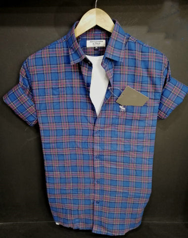 Blue Color Pure Cotton Checked Men Shirt - AFS-2