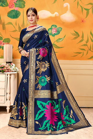 Navy Blue Color Lichi Silk Women's Saree - AFSDYABLUE