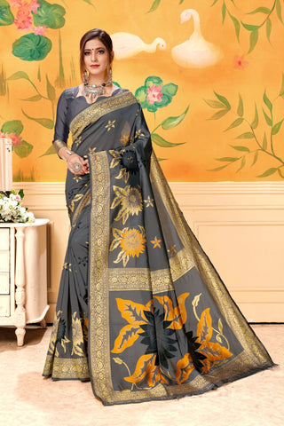 Grey Color Lichi Silk Women's Saree - AFSDYAGREY