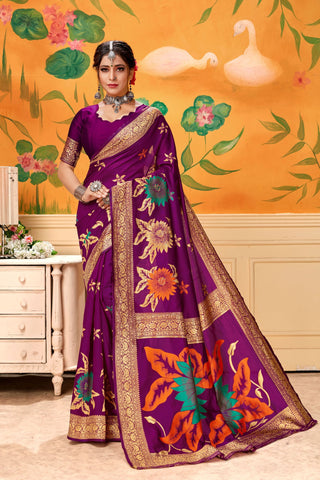 Magenta Color Lichi Silk Women's Saree - AFSDYAWINE