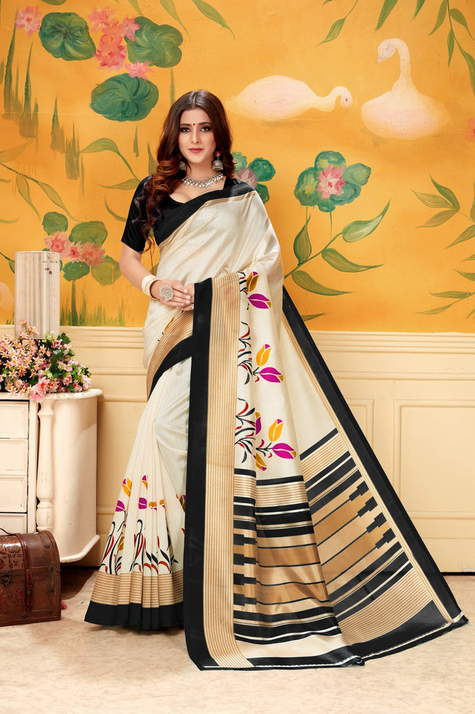 Buy Cream Black Color Khadi Silk Women's Saree