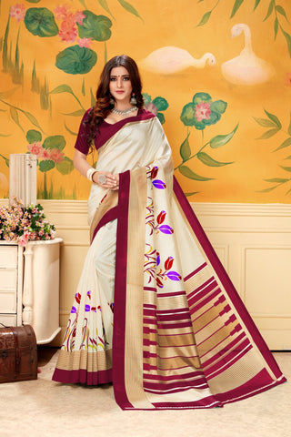 Cream Maroon Color  Silk Women's Saree - AFSKAMAROON