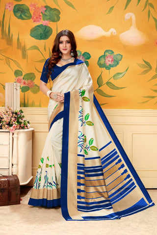 Cream Navy Color  Silk Women's Saree - AFSKANAVY