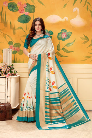 Cream Rama Color  Silk Women's Saree - AFSKARAMA