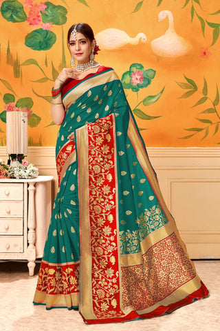 Green Red Color Lichi Silk Women's Saree - AFTSVAGREEN