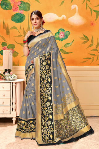 Grey Black Color Lichi Silk Women's Saree - AFTSVAGREY