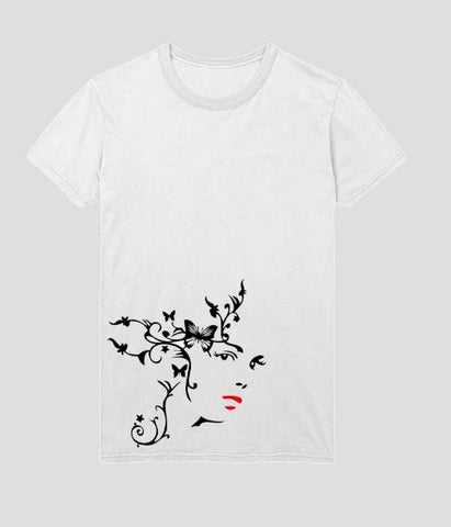 White Color Polyester Shera Womens Tshirt - AFWR109