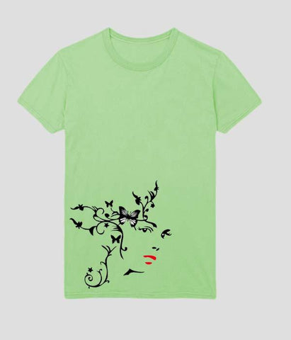 Green Color Cotton Submilation Womens Tshirt - AFWR112