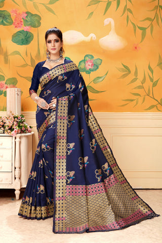 Navy Color Lichi Silk Women's Saree - AFYWANAVY